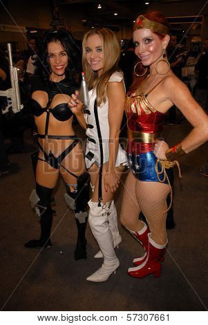 Alicia Arden as Aeon Flux, Paula Labaredas as Barbarella and Phoebe Price as Wonder Woman at San Diego Comic Con, San Diego Convention Center, San Diego, CA. 07-24-10