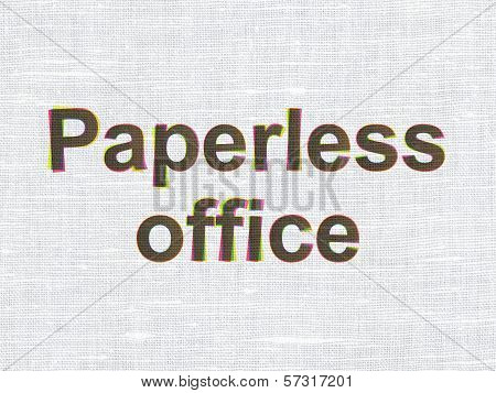 Finance concept: Paperless Office on fabric texture background