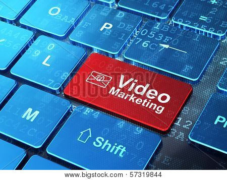 Business concept: Email and Video Marketing on computer keyboard background