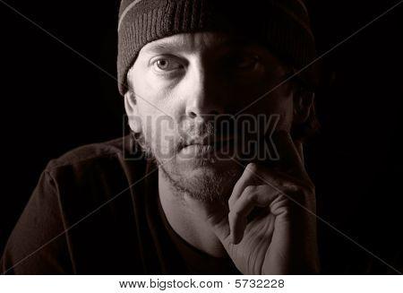 Chave rasteiro de um homem deprimido