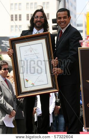 Marco Antonio Solis with Antonio Villaraigosa at the induction ceremony for Marco Antonio Solis into the Hollywood Walk of Fame, Hollywood, CA. 08-05-10