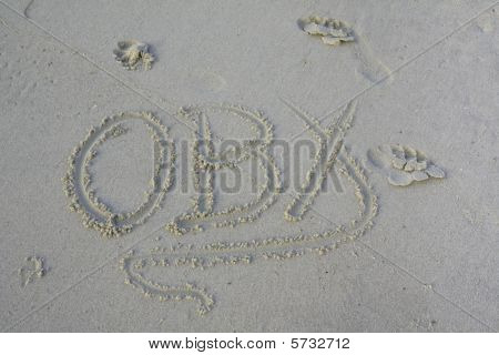 Obx Abbreviation Written In The Sand Of The Outer Banks