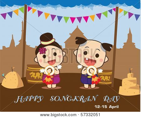 Songkran Day Card-Songkran festival