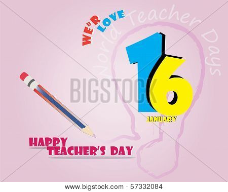 Happy Teacher 's Day Card with Lamp and Pencil