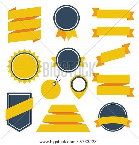 Vector Stickers and Badges Set 6. Flat Style.