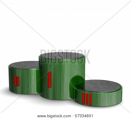 Green Reflective Cylindrical Sports Victory Podium With Red Roman Numerals