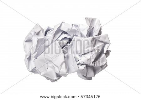 Crumbled Paper Over White Background
