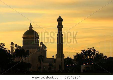 Silhouette Of Sultan Omar Ali Saifudding Mosque At Sunset, Bandar Seri Begawan, Brunei