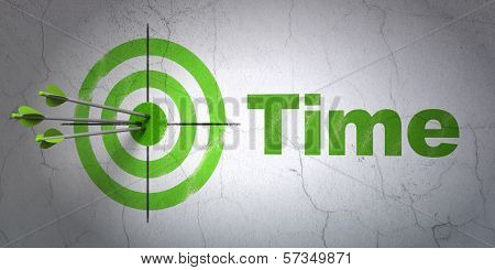 Timeline concept: target and Time on wall background
