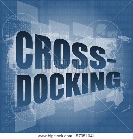 Cross Docking Word On Digital Touch Screen