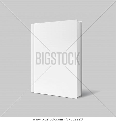 Blank book cover over gray background