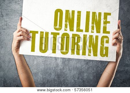 Man Holding Banner With Online Tutoring Title