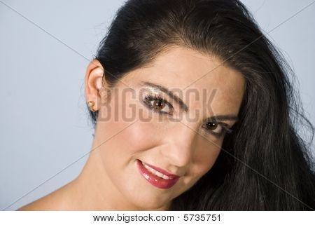 Portrait Attractive Woman With Brown Eyes