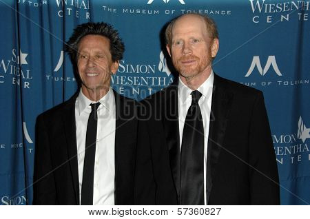 Brian Grazer and Ron Howard at the  Simon Wiesenthal Center's 2010 Humanitarian Award, Beverly Wilshire Hotel, Beverly Hills, CA. 05-05-10