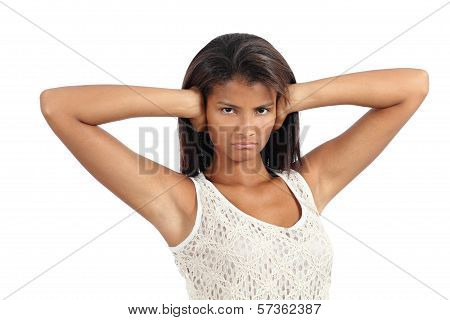 Beautiful African American Woman With Her Hands Covering The Ears
