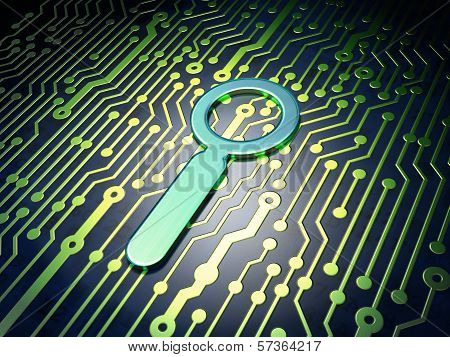 Web design concept: Search on circuit board background