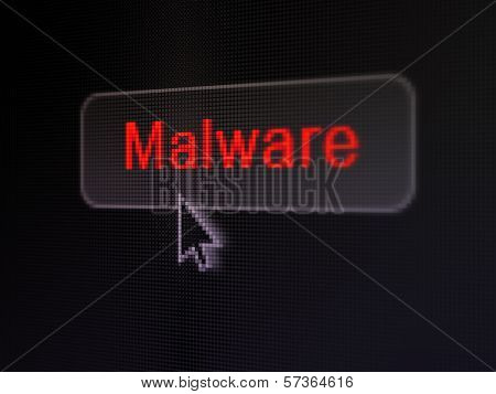 Safety concept: Malware on digital button background