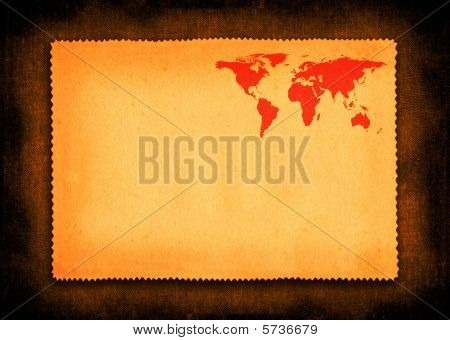 Piece Of Paper With Small World Map