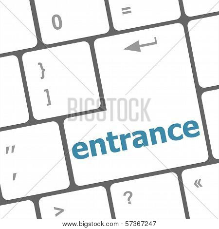 Entrance Button On Computer Pc Keyboard Key