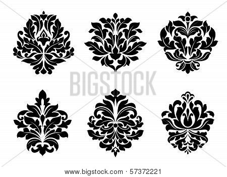 Six different floral arabesque designs