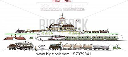 Railway station illustration, City collection