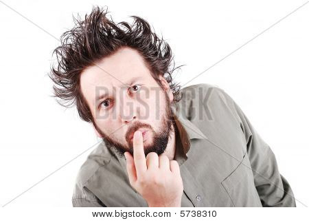 Young Male Model With Funny Hair With Expression On Face