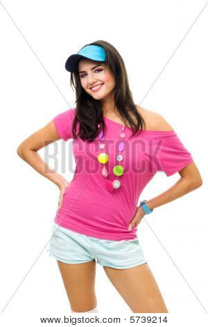 Happy Woman Standing In Pink And Blue Smile
