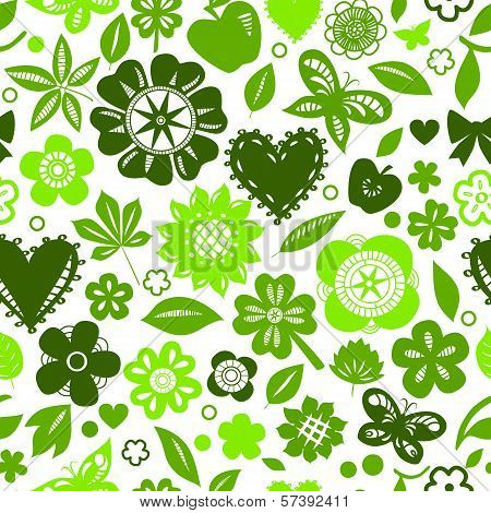 Green flowers and hearts silhoettes on white seamless pattern, vector