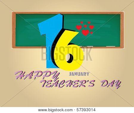 Happy Teacher 's Day Card- January 16