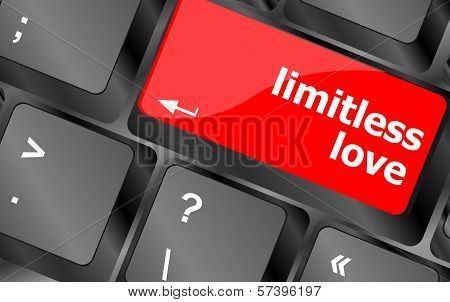 Modern Keyboard Key With Words Limitless Love