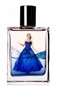 picture of flask  - Fashion model in a long luxurious dress inside a perfume flask - JPG