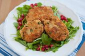 image of veggie burger  - Delicious vegan veggie burger patty with quinoa - JPG