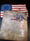 stock photo of revolutionary war  - The Declaration of Independence with red - JPG