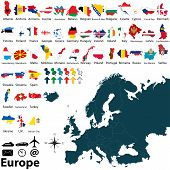 stock photo of atlas  - Vector of political map of Europe set with maps and flags on white background - JPG