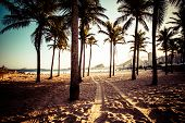 stock photo of carnival rio  - View of Ipanema Beach in the evening Brazil - JPG