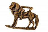 picture of metal sculpture  - an ancient horse metal sculpture isolated on a white background - JPG