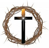 stock photo of thorns  - A vector drawing of a crown made of thorns with a cross in front of it - JPG