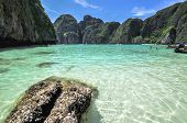 stock photo of phi phi  - Maya bay Phi Phi Leh island Krabi west Thailand Asia - JPG