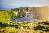 image of cliffs moher  - Famous cliffs of Moher at sunset in Co - JPG