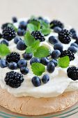 foto of blackberries  - Home made Pavlova with Blueberries and Blackberries - JPG