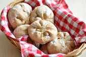 picture of home-made bread  - Home made Bread Rolls in a bread basket - JPG