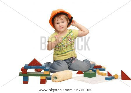 The Little Girl In A Helmet Isolated