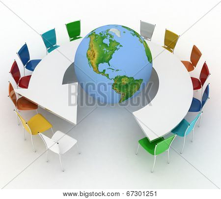Conference table as an arrow with globe. Concept of global politics, diplomacy, environment, world leadership. 3d illustration. Elements of this image furnished by NASA