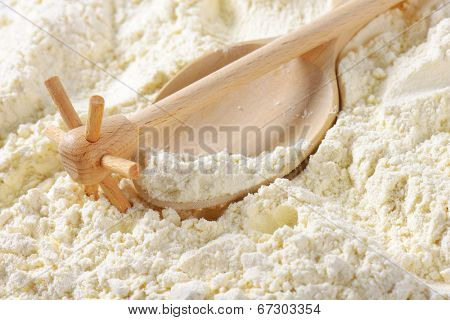 detail of the wooden spoon and whisk, immersed in soft wheat flour