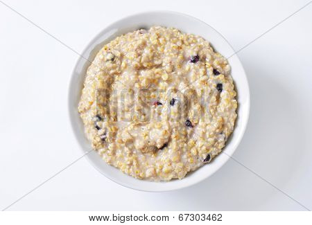 overhead view of natural oatmeal with fruit pieces