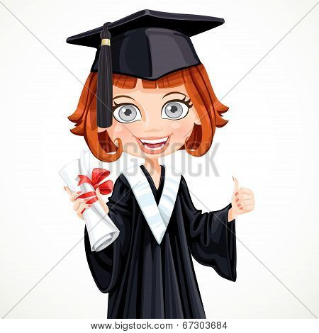 Girl In Cap And Gown Graduate Holding A Scroll Diploma