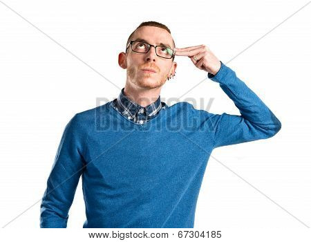 Young Man Committing Suicide Over White Background