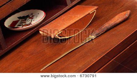 Vintage Ink Blotter Letter Opener Walnut Desk