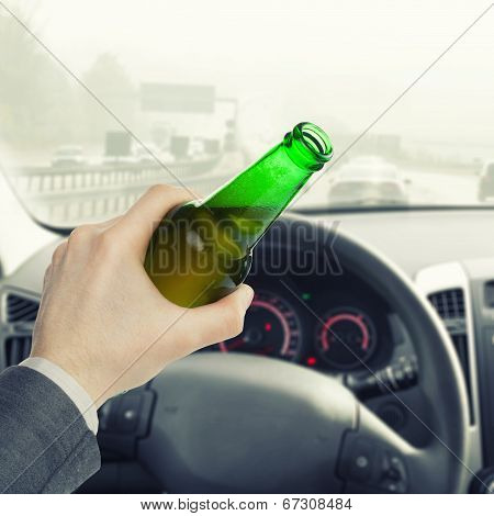 Male With Bottle Of Beer While Driving Car - 1 To 1 Ratio