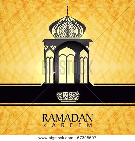 Stylish intricate arabic lantern on shiny yellow background for for holy month of Muslim community Ramadan Kareem.